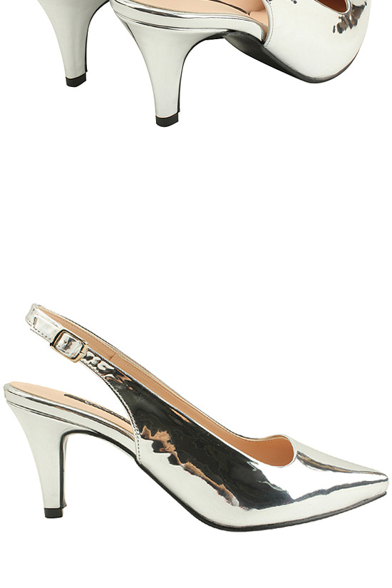 Slingback strap high heel shoes silver