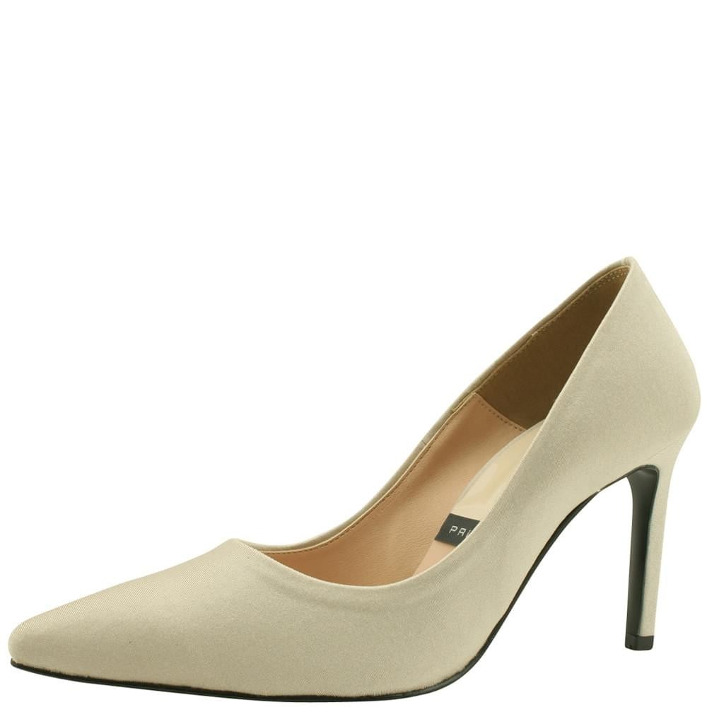 Satin Vivid Stiletto Heel 9cm Light Khaki