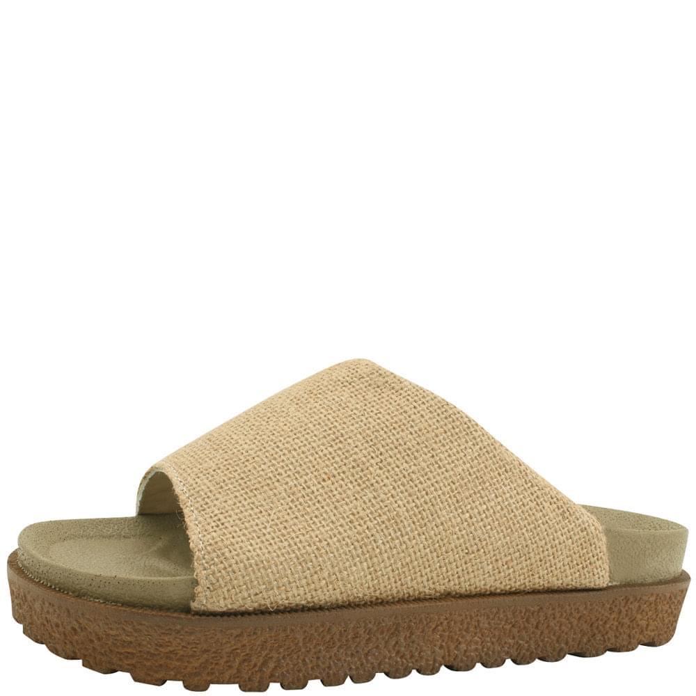 Linen PU Thick Heel Slippers Jean Beige