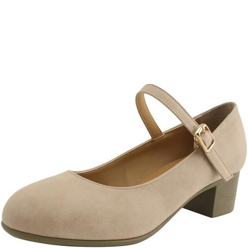Mary Jane Strap Middle Heel Pumps Beige