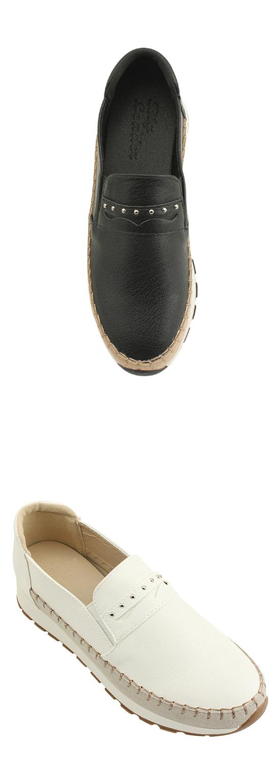 Cowhide Stud Height Slip-on White