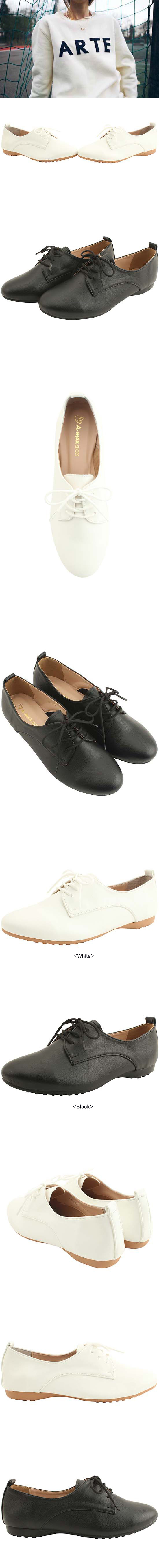 Lace-up simple loafer shoes black