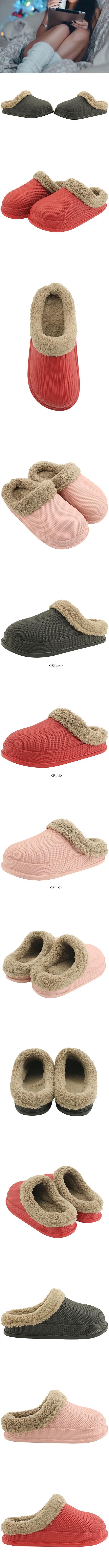 Waterproof Winter Shoes Couple Fleece Slippers Black