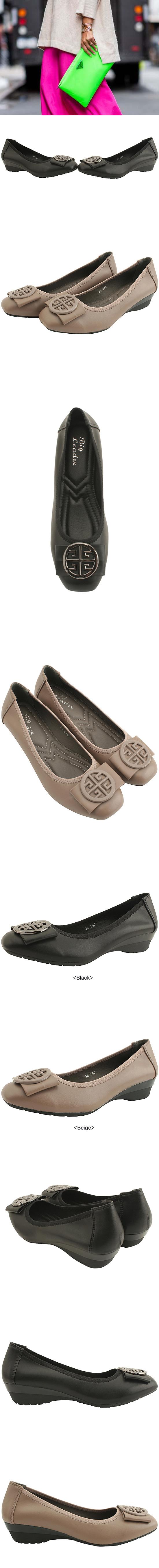 Beaded Ribbon Wedge Low Heel Loafers Black