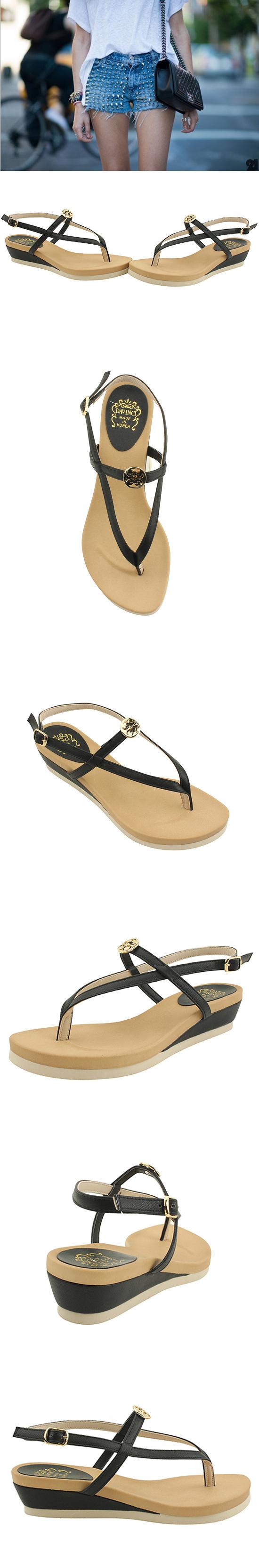 Flip-Flop Full Heel Flat Sandals 4cm Black
