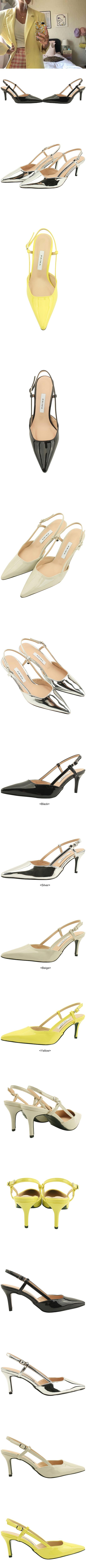 Enamel stiletto strap high heels silver