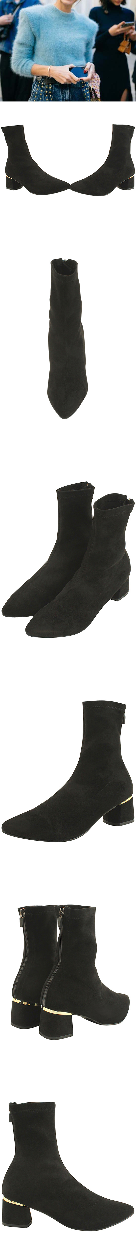 Pointed Nose Span Suede Middle Heel Ankle Boots