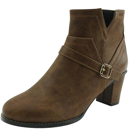 One Belt Middle Heel Ankle Boots Brown