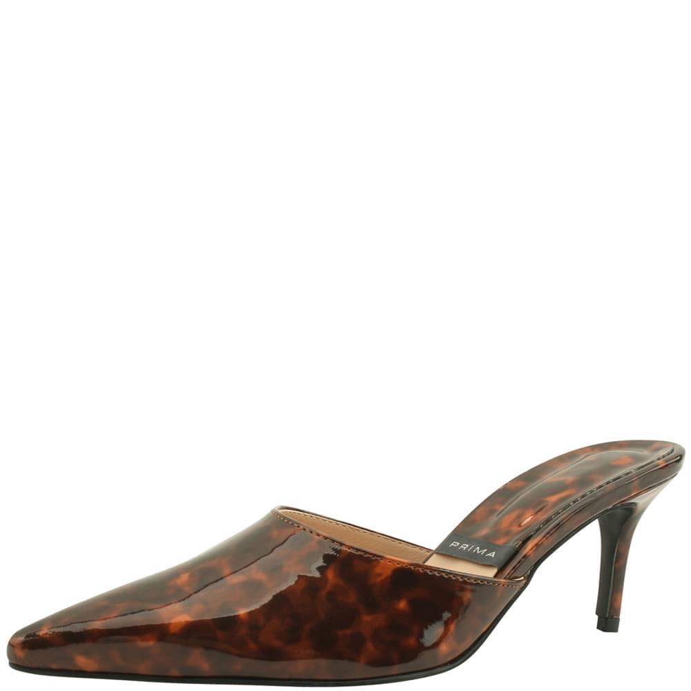 Enamel mules stiletto heel slippers leopard