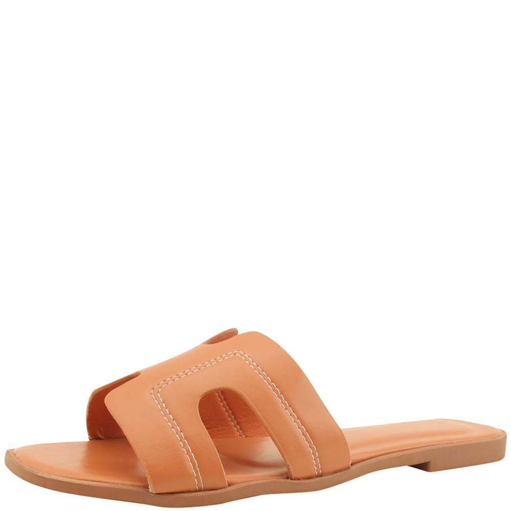 H Stitch Square Toe Flat Slippers Orange
