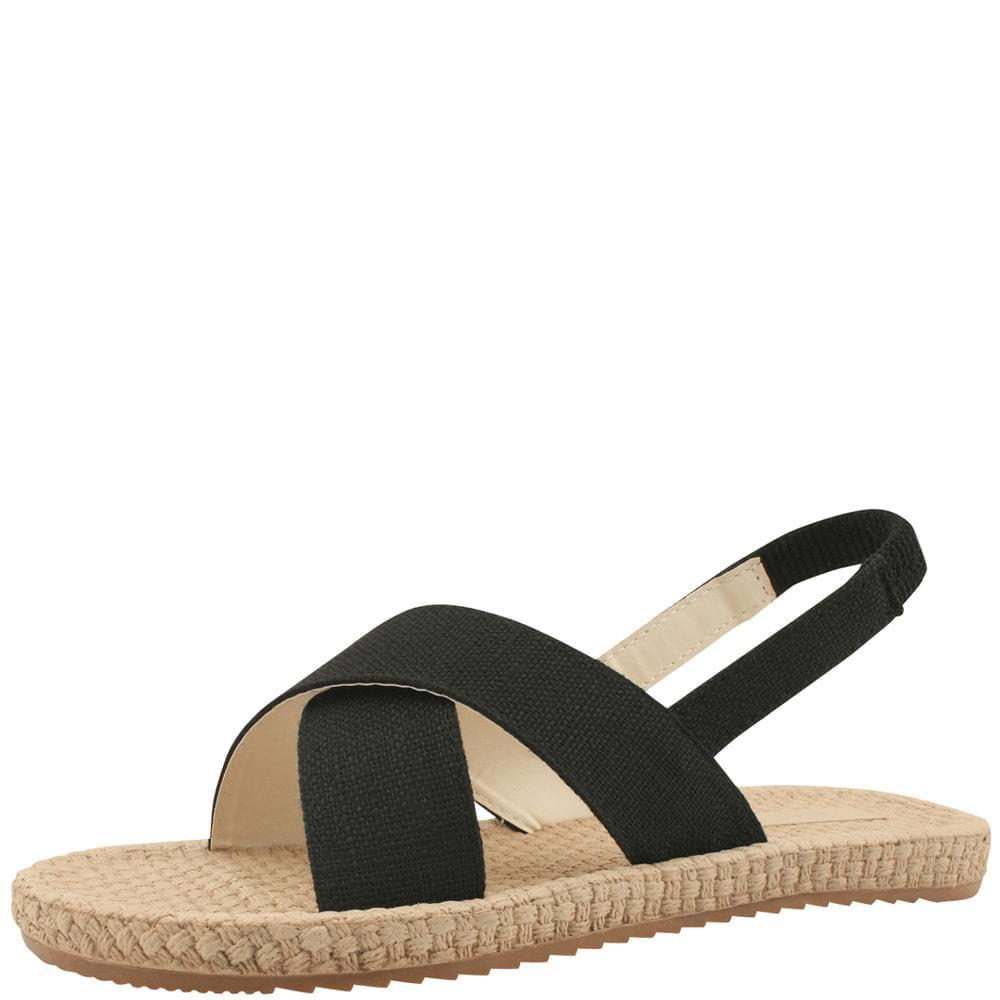 Linen Cross Sling Bag Flat Sandals Black