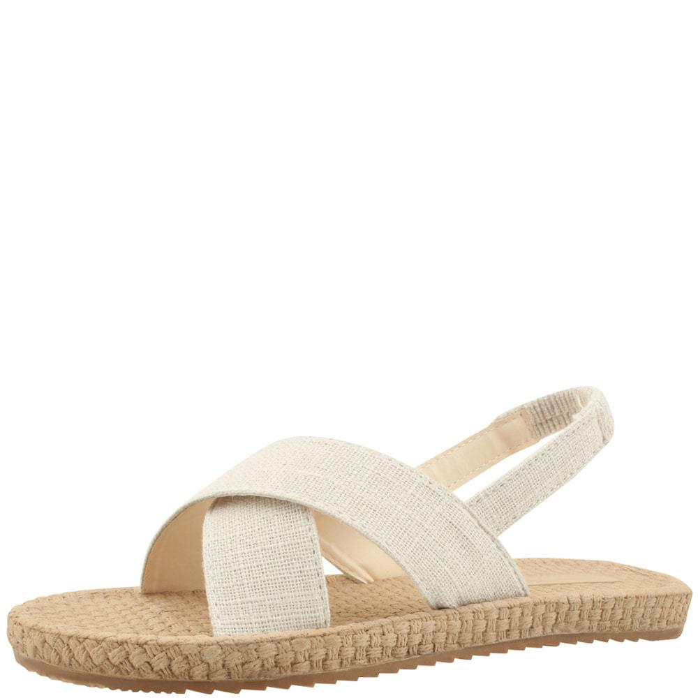 Linen Cross Sling Bag Flat Sandals Beige