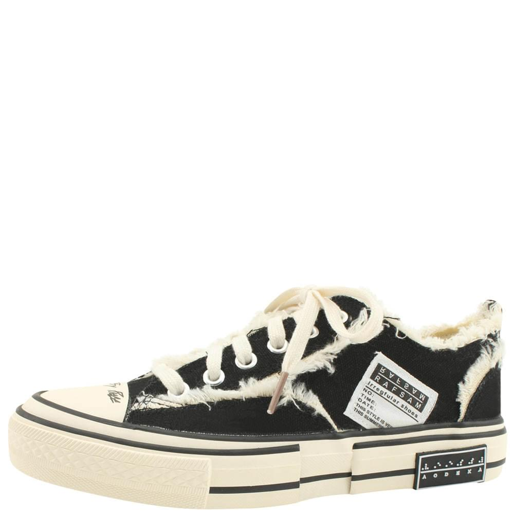 Vintage Faded Canvas Sneakers Black