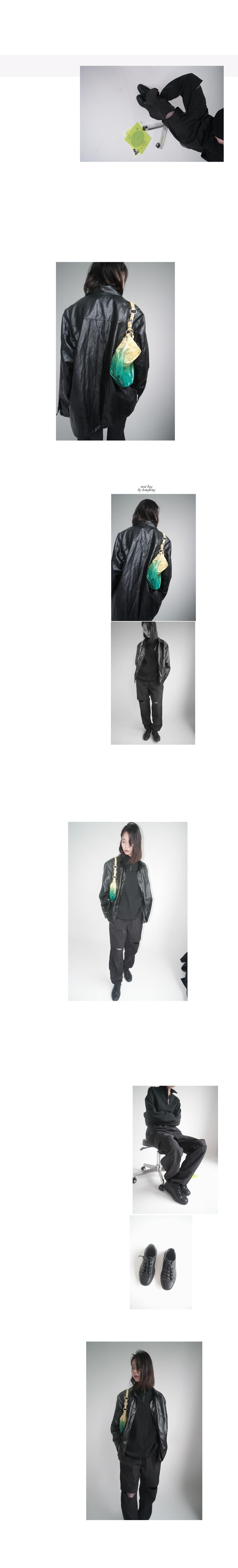 cut-off straight banding pants (black)