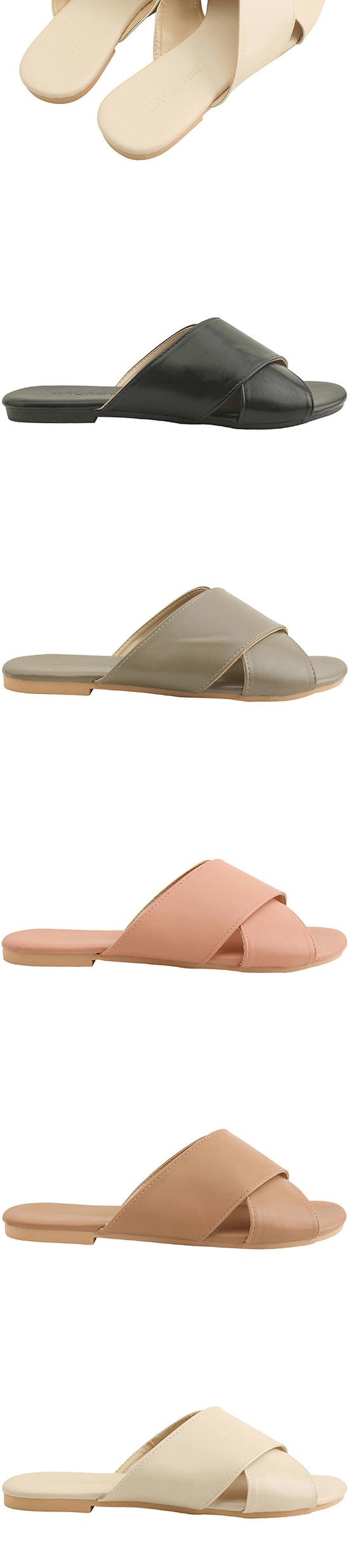 Cross Strap Simple Slippers Brown