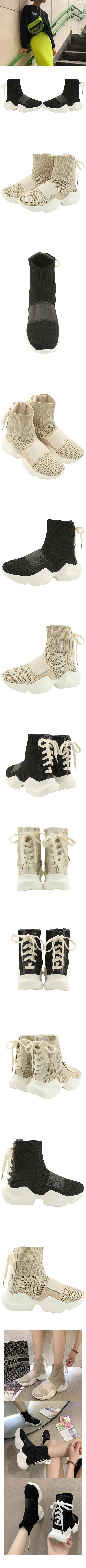 Knitted high-top sock sneakers black