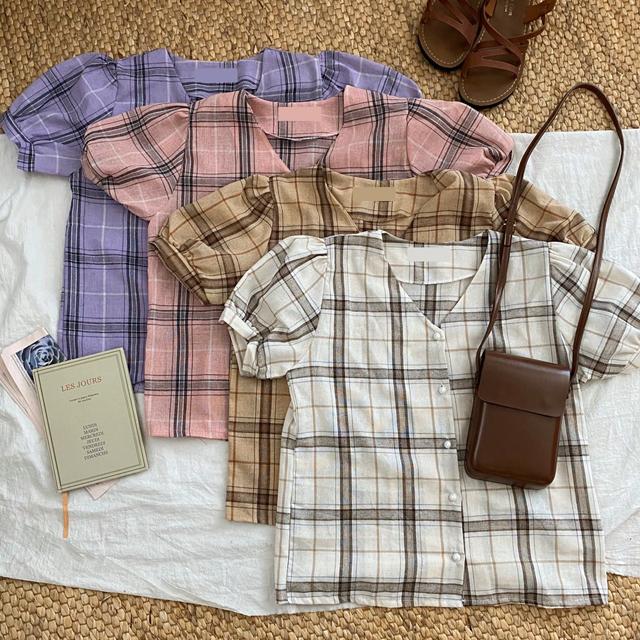 Pancake linen check blouse