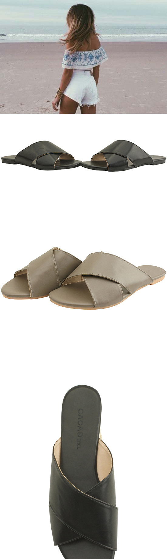 Cross Strap Simple Slippers Gray