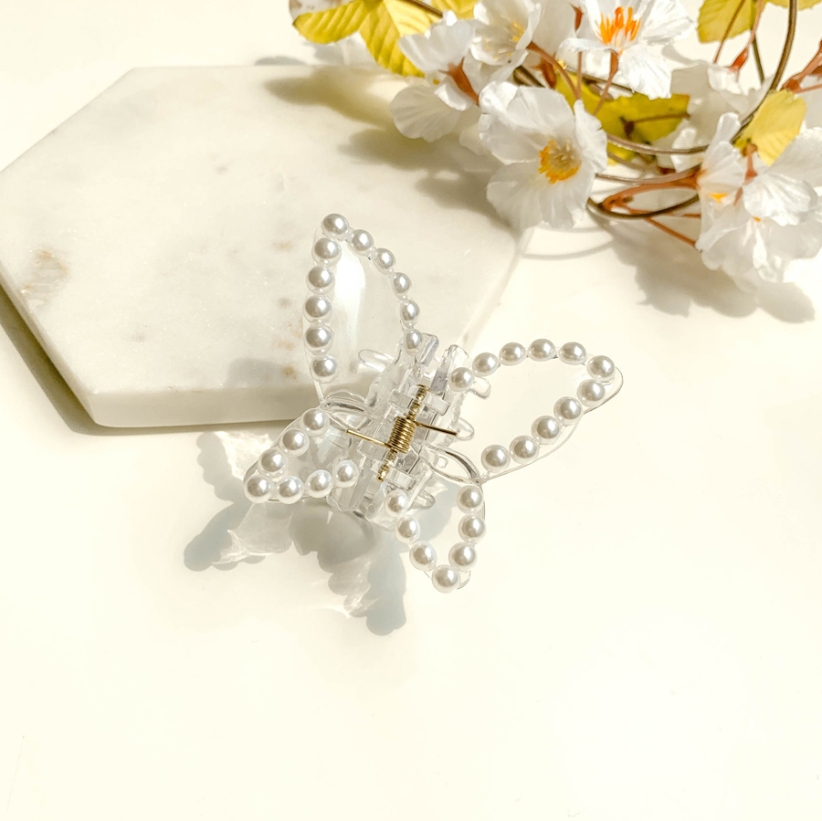 Pearl transparent butterfly clip 2color