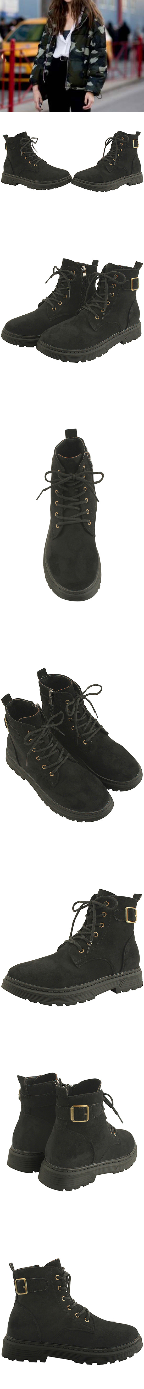 Suede buckle strap Fleece-lined flat walker
