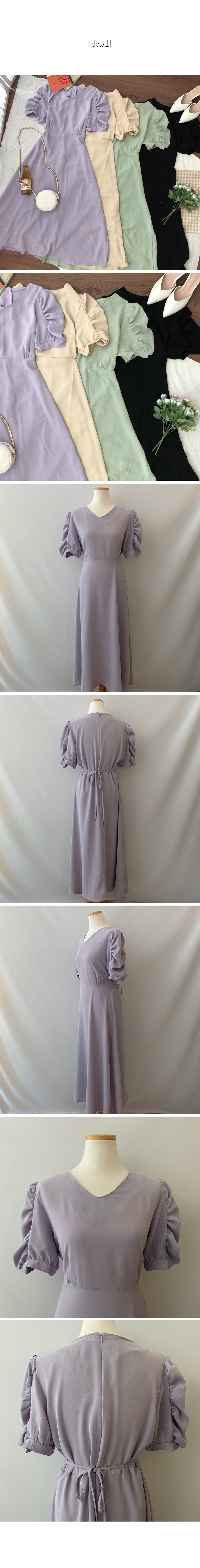 Lavender sleeve shirring long dress