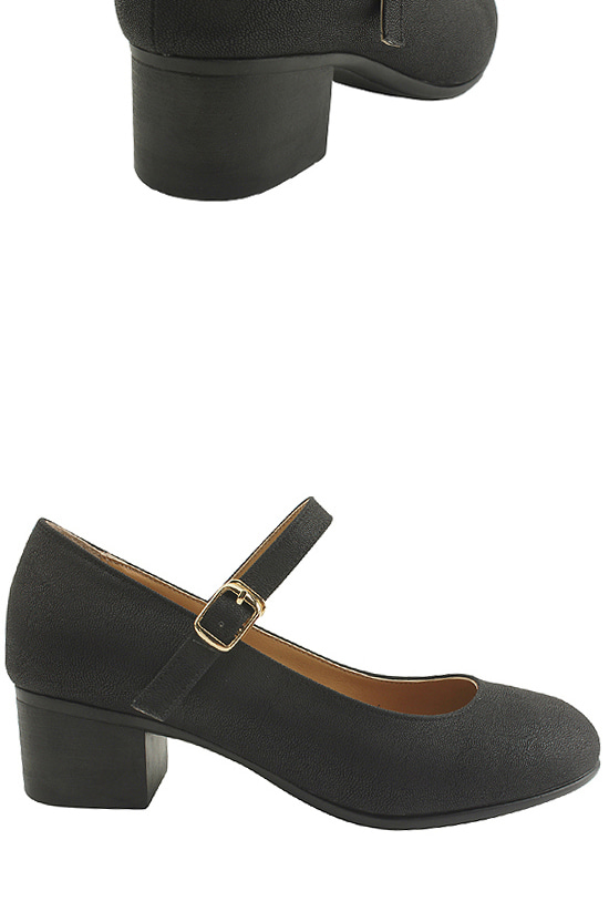 Simple Mary Jane Shoes Middle Heel Black