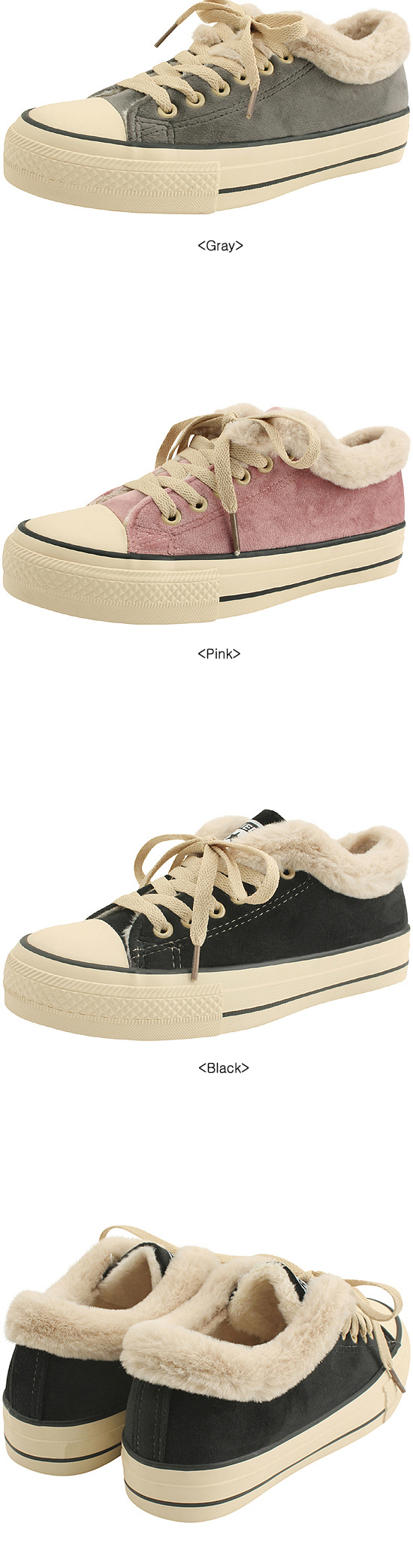 Canvas Fur Trim Sneakers Gray