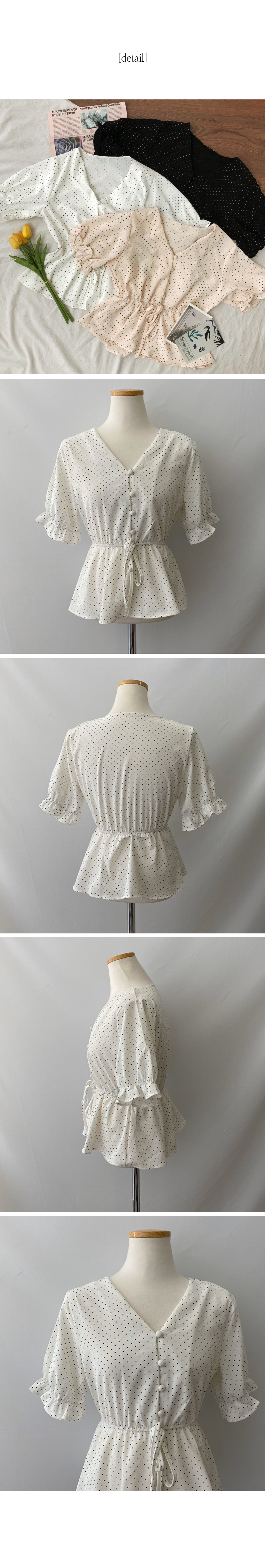Ria dot flare short sleeve blouse
