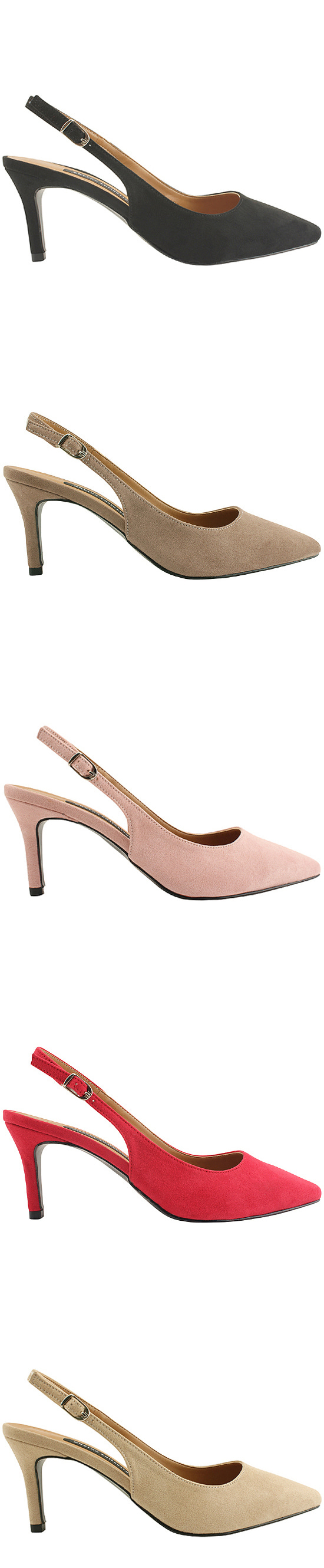 Suede Pointed Nose Slingback High Heels Pink