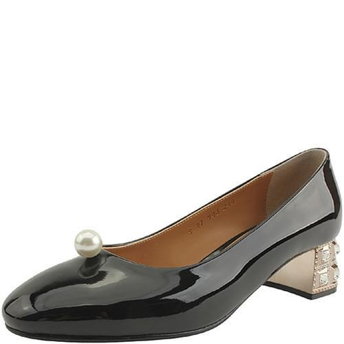Pearl Cubic Heel Unique Middle Heel Black