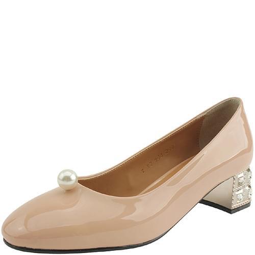 Pearl Cubic Heel Unique Middle Heel Pink