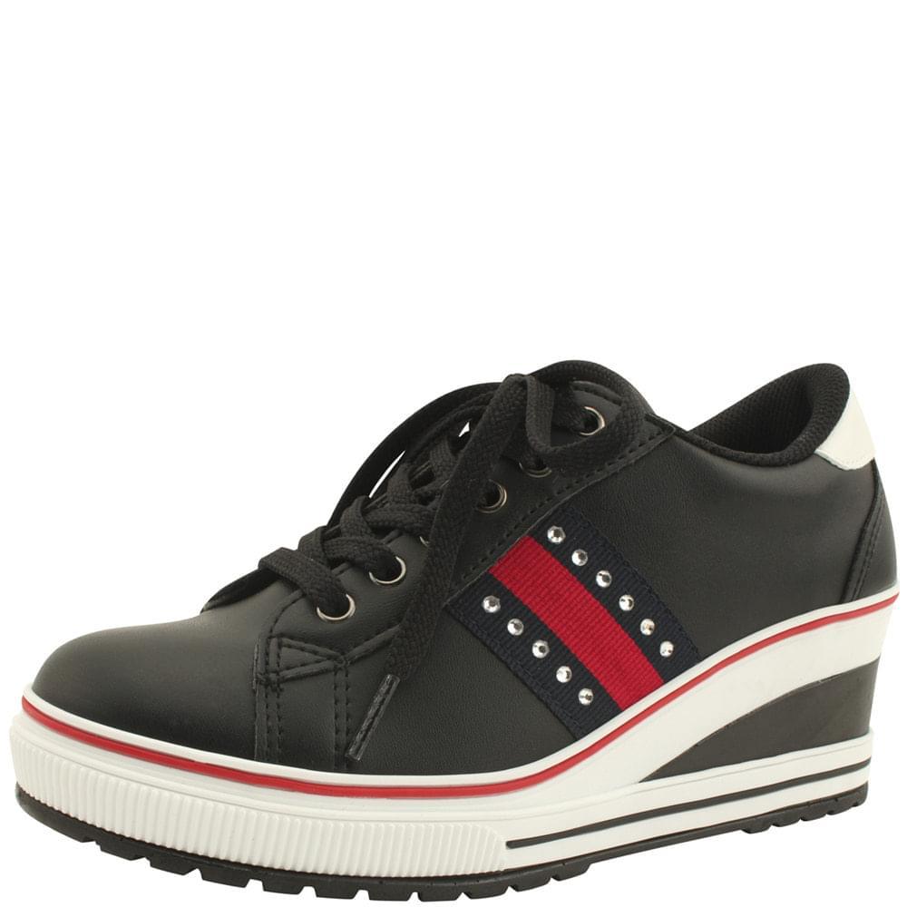 Cubic Canvas Wedge Heel Sneakers Black
