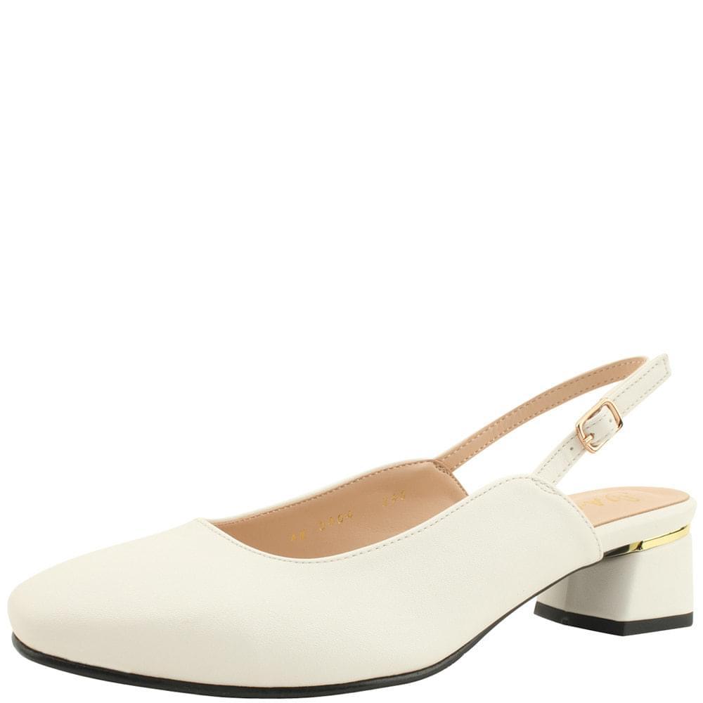 Square Toe Sling Bag Gold Middle Heel White