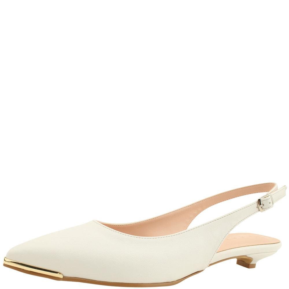 Slingback Metal Stiletto Low Heel White