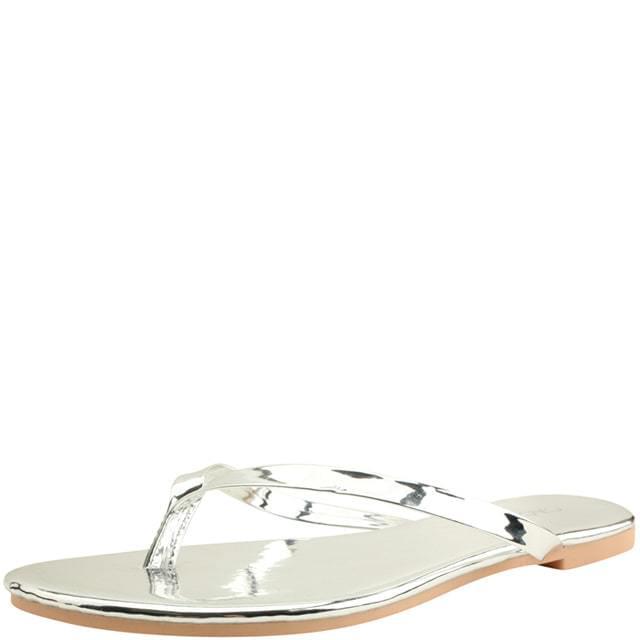 Simple strap split slippers silver