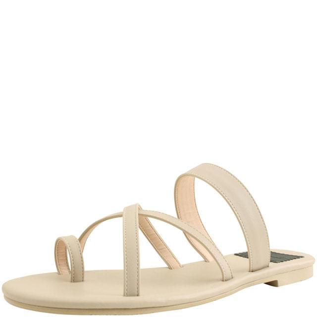Flip-flop cross strap slippers beige