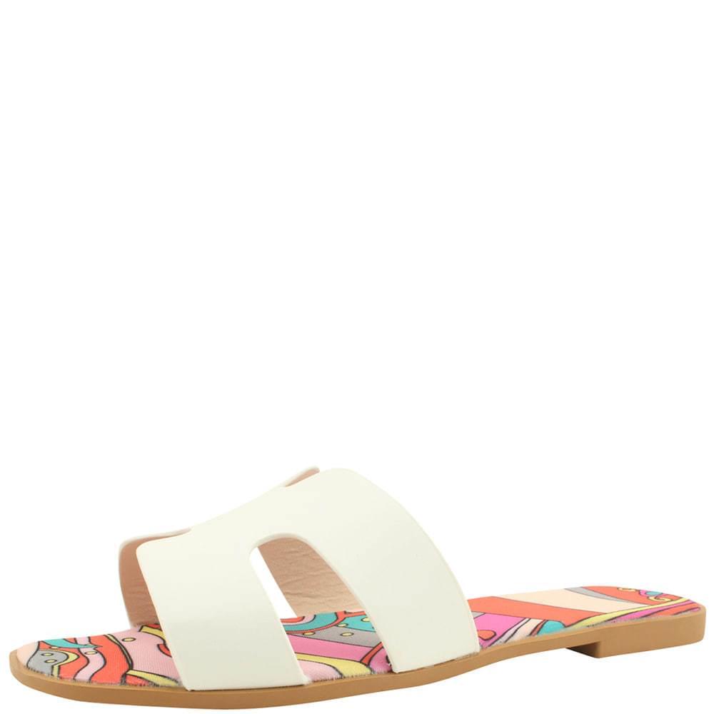 H Feminine Flat Mule Slippers White