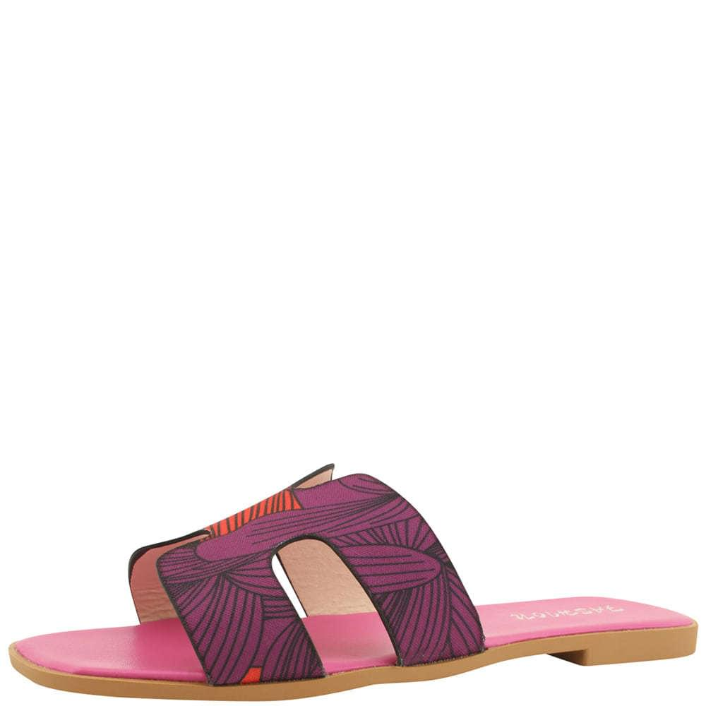 H Feminine Flat Mule Slippers Pink