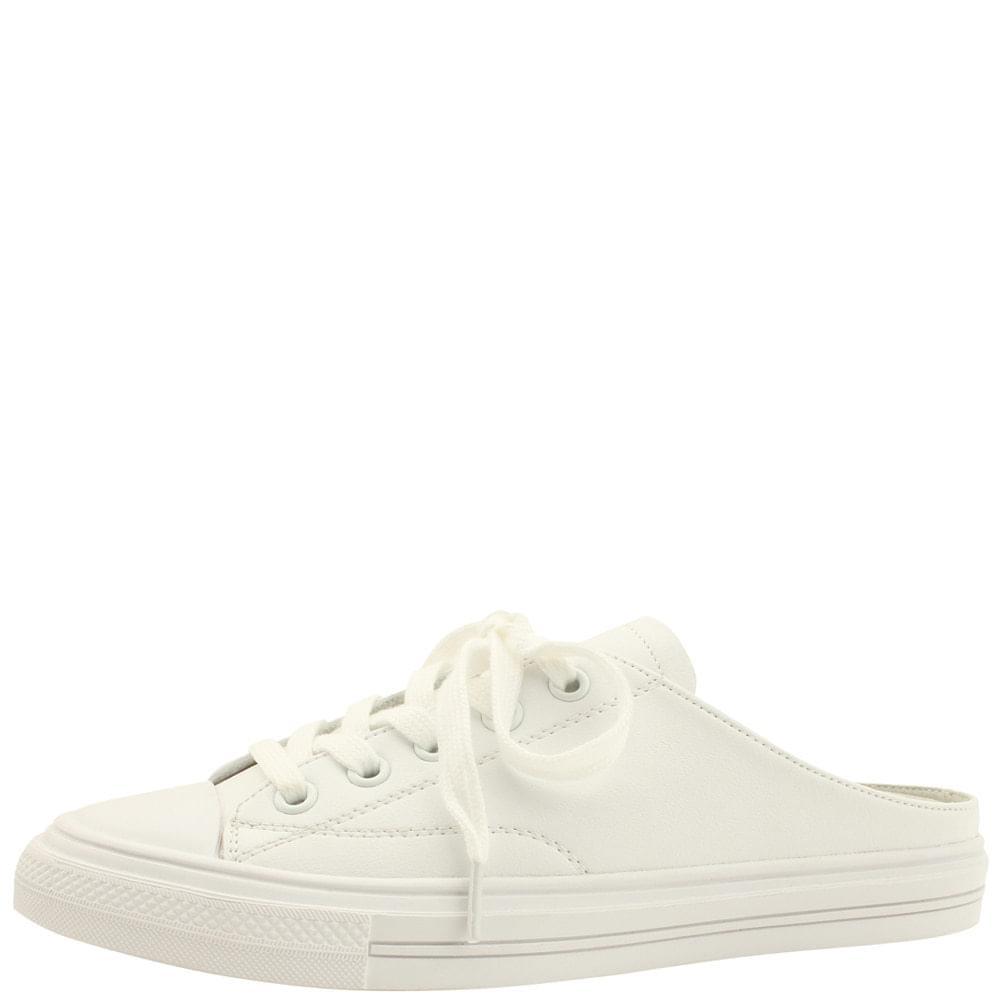 Cowhide Sneakers Mule Slippers White