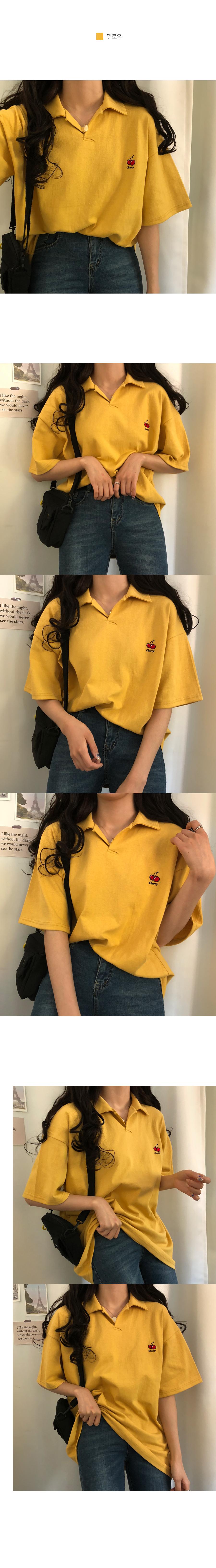 Cherry collar overfit T-shirt