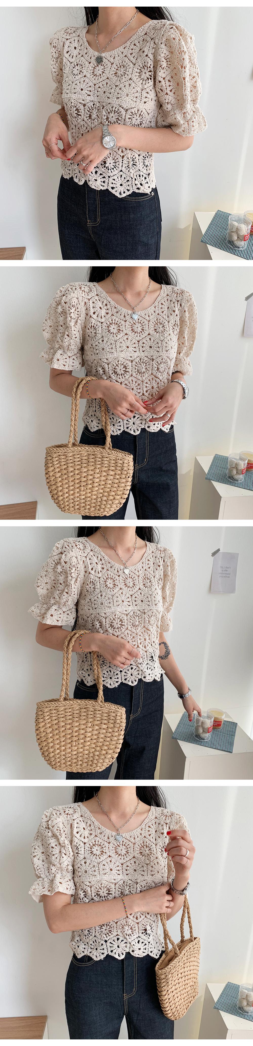 Knit Puff Short Sleeve Knit