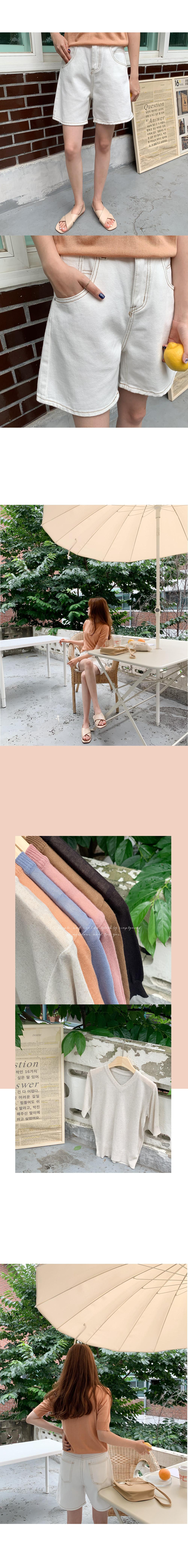 Gel Road Linen V Neck Short Sleeve Knit