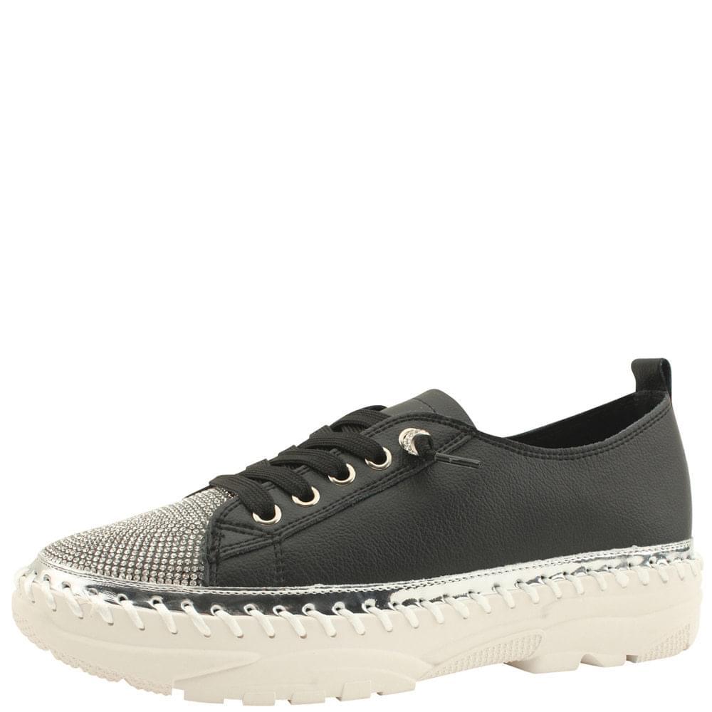 Cubic Bling Cowhide Sneakers Black