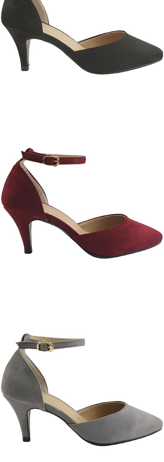 Ankle Strap Stiletto High Heels Gray