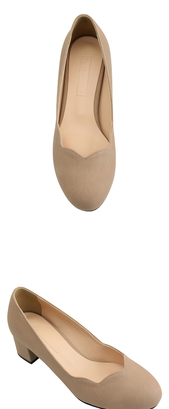 Round Toe Wave Full Heel Middle Heel Pink