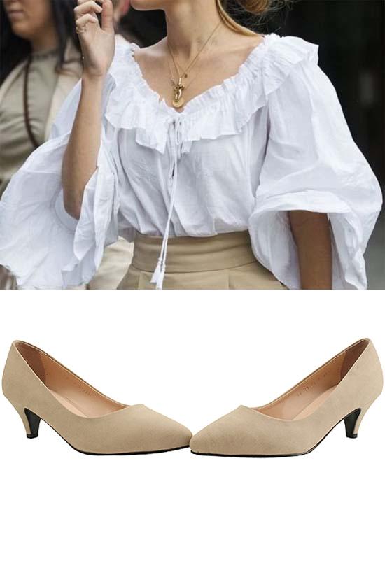 Basic Stiletto Middle Heel Pumps Beige