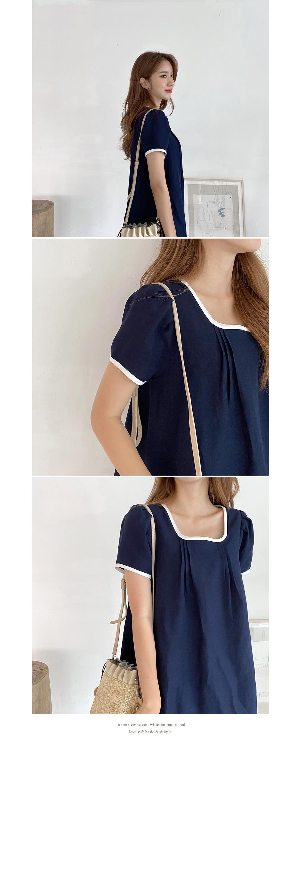 Color point linen dress