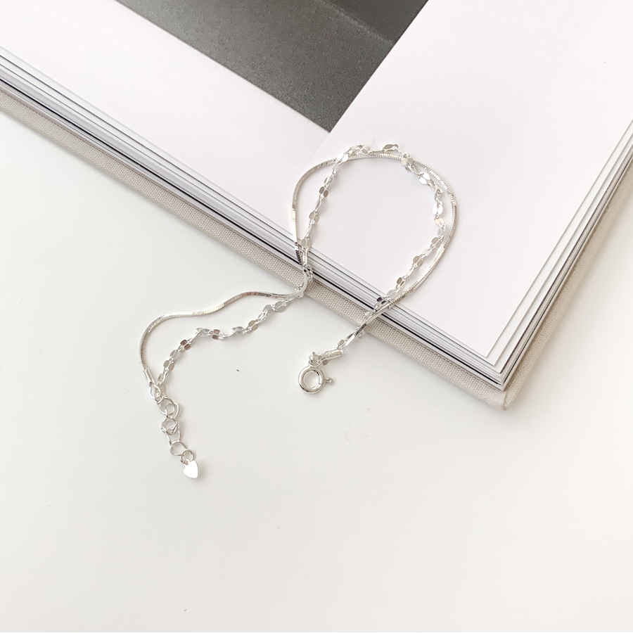 Snake Cubic Two-Line Silver 925 Anklet