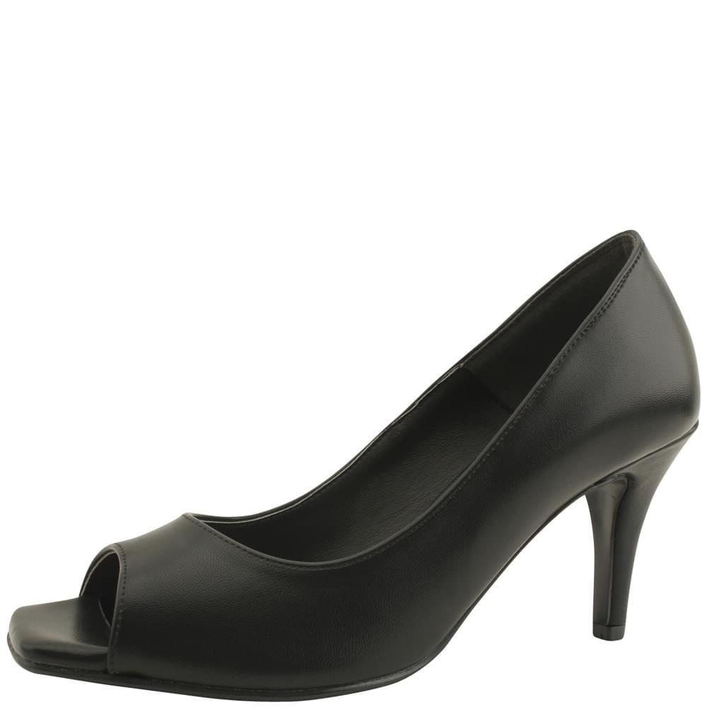 Toe Open Simple High Heels 8cm Black