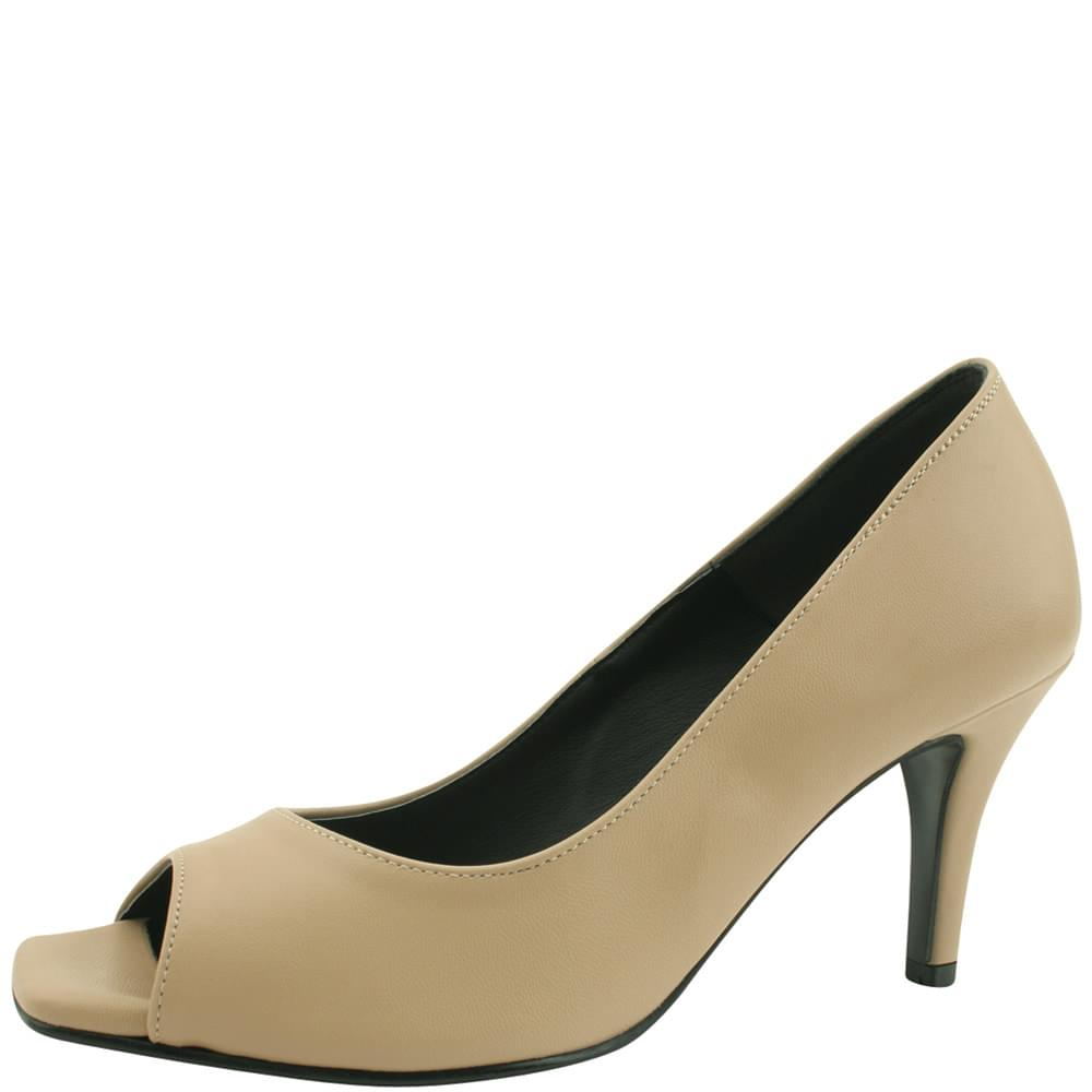 Toe Open Simple High Heels 8cm Beige
